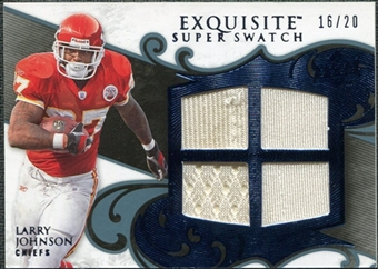 2008 Upper Deck Exquisite Collection Super Swatch Blue #SSLJ Larry Johnson /20