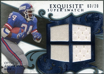 2008 Upper Deck Exquisite Collection Super Swatch Blue #SSOA Ottis Anderson /20