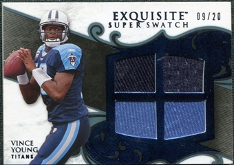 2008 Upper Deck Exquisite Collection Super Swatch Blue #SSVY Vince Young /20