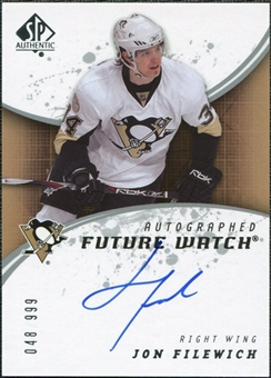 2008/09 Upper Deck SP Authentic #212 Jon Filewich RC Autograph /999