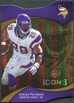 2009 Upper Deck Icons Gold Holofoil Die Cut #34 Adrian Peterson /75