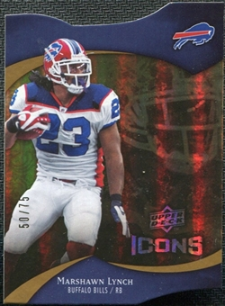 2009 Upper Deck Icons Gold Holofoil Die Cut #47 Marshawn Lynch /75