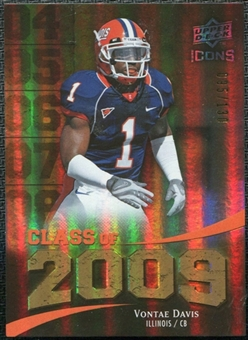 2009 Upper Deck Icons Class of 2009 Gold #VD Vontae Davis /130