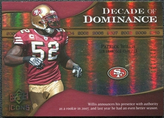 2009 Upper Deck Icons Decade of Dominance Gold #DDPW Patrick Willis /130