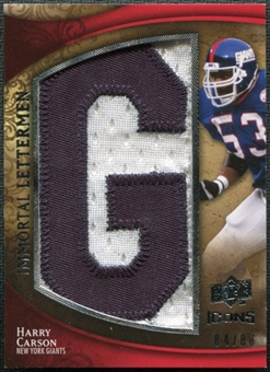 2009 Upper Deck Icons Immortal Lettermen #ILHC Harry Carson/87/88/(Letters spell out GIANTS/ Total print run 5