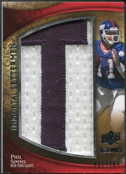 2009 Upper Deck Icons Immortal Lettermen #ILPS Phil Simms/99/100/(Letters spell out GIANTS/ Total print run 60