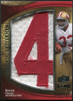 2009 Upper Deck Icons Immortal Lettermen #ILCR Roger Craig/105/(Letters spell out 49ERS/ Total print run 525)