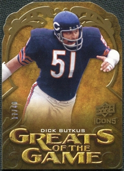 2009 Upper Deck Icons Greats of the Game Die Cut #GGDB Dick Butkus /40