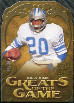 2009 Upper Deck Icons Greats of the Game Die Cut #GGSI Billy Sims /40