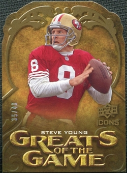 2009 Upper Deck Icons Greats of the Game Die Cut #GGSY Steve Young /40