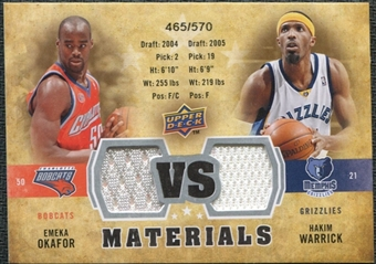 2009/10 Upper Deck VS Dual Materials #VSOW Emeka Okafor Hakim Warrick /570