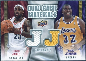 2009/10 Upper Deck Game Materials Dual #DGJJ LeBron James Magic Johnson