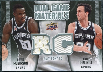 2009/10 Upper Deck Game Materials Dual #DGRG David Robinson Manu Ginobili