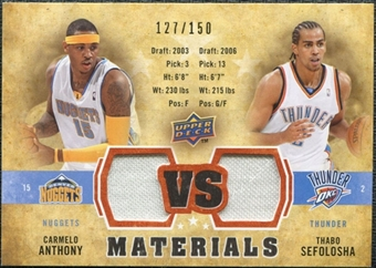 2009/10 Upper Deck VS Dual Materials Bronze #VSAS Carmelo Anthony Thabo Sefolosha /150