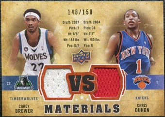 2009/10 Upper Deck VS Dual Materials Bronze #VSDB Chris Duhon Corey Brewer /150