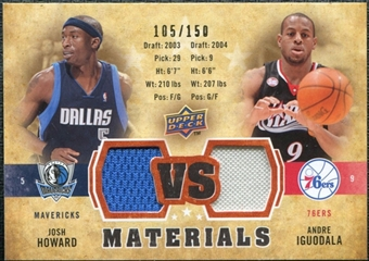 2009/10 Upper Deck VS Dual Materials Bronze #VSHI Andre Iguodala Josh Howard /150