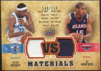 2009/10 Upper Deck VS Dual Materials Bronze #VSHW Al Horford Julian Wright /150