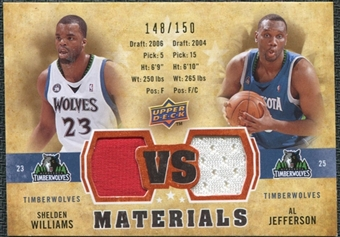 2009/10 Upper Deck VS Dual Materials Bronze #VSJW Al Jefferson Shelden Williams /150