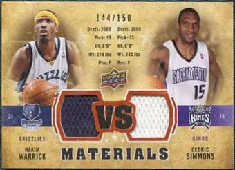 2009/10 Upper Deck VS Dual Materials Bronze #VSWS Cedric Simmons Hakim Warrick /150