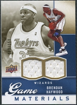 2009/10 Upper Deck Game Materials Gold #GJBH Brendan Haywood /150