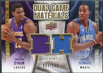 2009/10 Upper Deck Game Materials Dual Gold #DGBH Andrew Bynum Dwight Howard /150