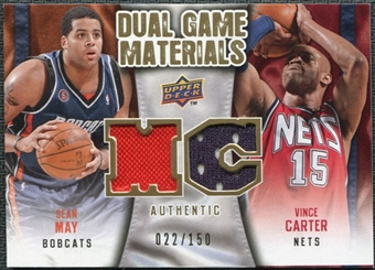 2009/10 Upper Deck Game Materials Dual Gold #DGCM Sean May Vince Carter /150