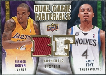 2009/10 Upper Deck Game Materials Dual Gold #DGFB Randy Foye Shannon Brown /150