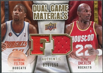 2009/10 Upper Deck Game Materials Dual Gold #DGFD Clyde Drexler Raymond Felton /150