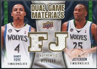 2009/10 Upper Deck Game Materials Dual Gold #DGFJ Al Jefferson Randy Foye /150