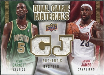 2009/10 Upper Deck Game Materials Dual Gold #DGGJ Kevin Garnett LeBron James /150
