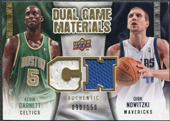 2009/10 Upper Deck Game Materials Dual Gold #DGGN Dirk Nowitzki Kevin Garnett /150