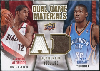 2009/10 Upper Deck Game Materials Dual Gold #DGKL Kevin Durant LaMarcus Aldridge /150