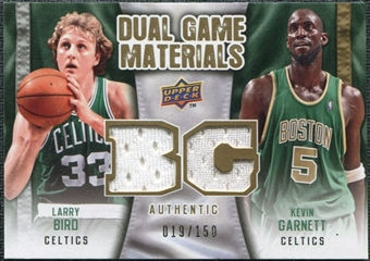 2009/10 Upper Deck Game Materials Dual Gold #DGLG Kevin Garnett Larry Bird /150