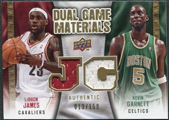 2009/10 Upper Deck Game Materials Dual Gold #DGLK Kevin Garnett LeBron James /150