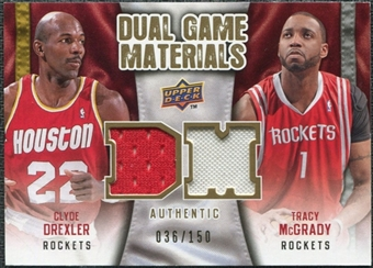 2009/10 Upper Deck Game Materials Dual Gold #DGMD Clyde Drexler Tracy McGrady /150