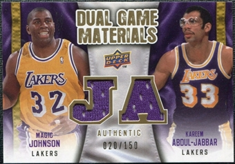 2009/10 Upper Deck Game Materials Dual Gold #DGMK Kareem Abdul-Jabbar Magic Johnson /150