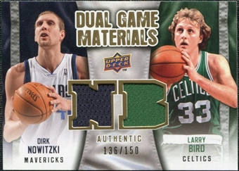2009/10 Upper Deck Game Materials Dual Gold #DGNB Dirk Nowitzki Larry Bird /150