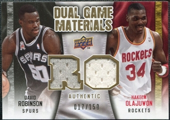 2009/10 Upper Deck Game Materials Dual Gold #DGOR David Robinson Hakeem Olajuwon /150