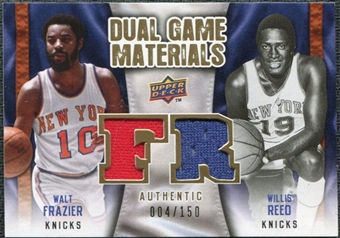 2009/10 Upper Deck Game Materials Dual Gold #DGRF Walt Frazier Willis Reed /150