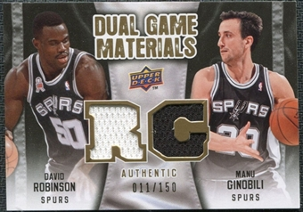 2009/10 Upper Deck Game Materials Dual Gold #DGRG David Robinson Manu Ginobili /150