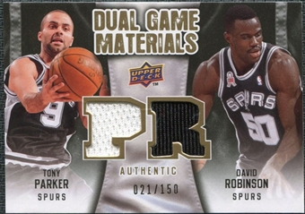 2009/10 Upper Deck Game Materials Dual Gold #DGTD David Robinson Tony Parker /150