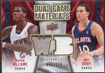 2009/10 Upper Deck Game Materials Dual Gold #DGWB Marvin Williams Mike Bibby /150