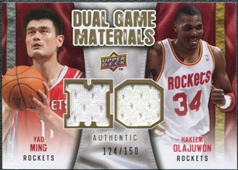 2009/10 Upper Deck Game Materials Dual Gold #DGYH Hakeem Olajuwon Yao Ming /150