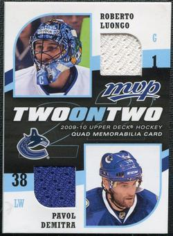 2009/10 Upper Deck MVP Two on Two Jerseys #JLDHS Patrick Sharp Cristobal Huet Roberto Luongo Pavol Demitra