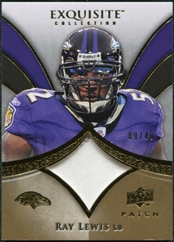 2009 Upper Deck Exquisite Collection Patch Gold #PRL Ray Lewis /40