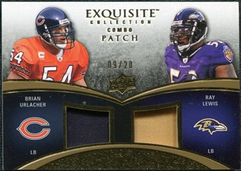 2009 Upper Deck Exquisite Collection Patch Combos Gold #LU Brian Urlacher Ray Lewis 9/20