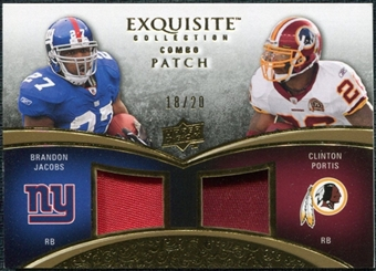 2009 Upper Deck Exquisite Collection Patch Combos Gold #PJ Brandon Jacobs Clinton Portis 18/20