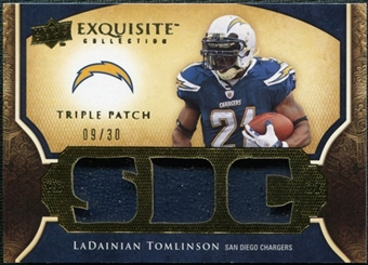 2009 Upper Deck Exquisite Collection Single Player Triple Patch #3PLT LaDainian Tomlinson /30