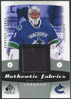 2010/11 Upper Deck SP Game Used Authentic Fabrics #AFRL Roberto Luongo