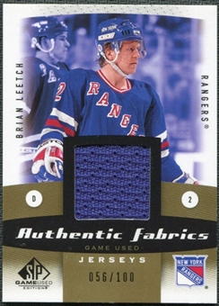 2010/11 Upper Deck SP Game Used Authentic Fabrics Gold #AFBL Brian Leetch 56/100